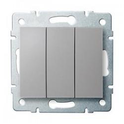 Kanlux LOGI 25195 Trojitý vypínač 10AX - 250V~,strieborný