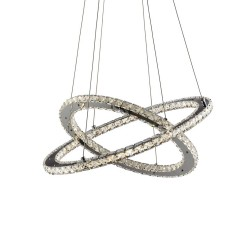 8757-168CC, SEARCHLIGHT, CLOVER LED 2 RING CEILING PENDANT, CHROME, CLEAR GLASS SQUARES TRIM