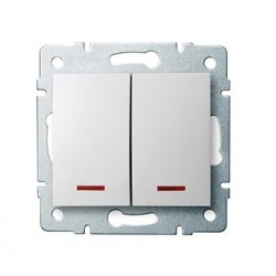 Kanlux LOGI 25070 Dvojité tlačítko s LED 10AX - 250V~,biely