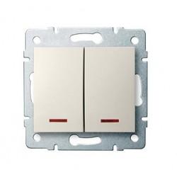 Kanlux LOGI 25130 Dvojité tlačítko s LED 10AX - 250V~,krémový