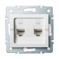 Kanlux LOGI 25111 Dvojitá dátová zásuvka nezávislá 2xRJ45Cat 6 Jack,biely
