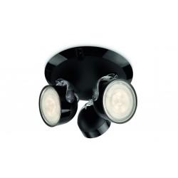 Massive - Philips DYNA plate/spiral black 3x3W 230V- 53233/30/16 spot stropný