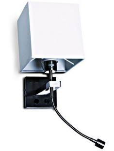 SCHRACK TECHNIK LID13253  Somni Square LED Wall Lamp 3W + E27 40W IP20 brushed chrome