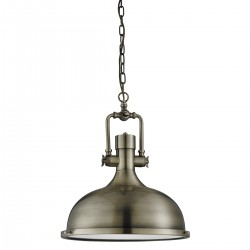 Searchlight 1322AB 1LT INDUSTRIAL PENDANT - ANTIQUE BRASS, FROSTED GLASS DIFFUSER
