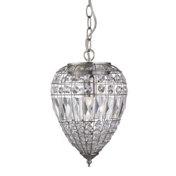 Searchlight 3991SS 1LT PENDANT, SATIN SILVER, CLEAR GLASS BUTTONS/COFFIN DROP TRIM