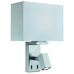 Searchlight 0882SS 1LT WALL LIGHT & RECTANGLE ARM LED READING LIGHT, SATIN SILVER, WHITE FABRIC SHADE