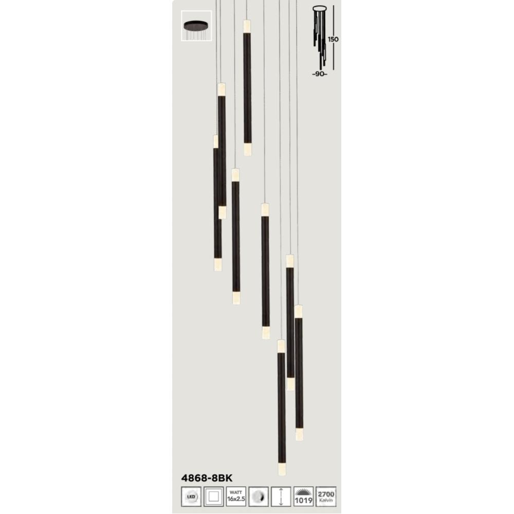 SEARCHLIGHT 4868-8BK Wands, Závesné svietidlo