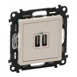Legrand Valena Life - USB nabíjačka dvojitá - 5V - 1 500mA, béžová - 753212