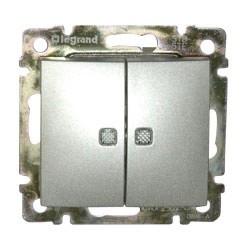 Legrand Valena - Dvojitý striedavý prepínač (5B) s orientačným osvetlením, hliník - 770212