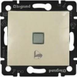 Legrand Valena - Tlačidlo s orientačným osvetlením, symbolom zvončeka 10A - 250V, béžová - 774115
