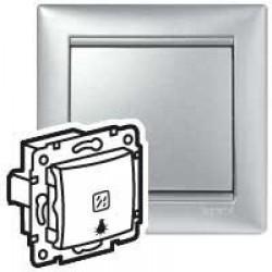 Legrand Valena - Tlačidlo s orientačným osvetlením, symbolom svietidla 10A - 250V, hliník - 770113