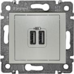 Legrand Valena - USB nabíjačky, 2x USB 1 500mA, hliník - 770270