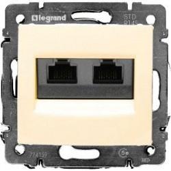 Legrand Valena - Dátová zásuvka 2 x RJ 45, kat. 6, FTP, béžová - 774133