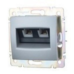 Legrand Valena - Dátová zásuvka  2 x RJ 45, kat. 6, FTP, hliník - 770233