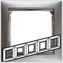 Legrand Valena - Päťnásobný rámik, hliník brúsený/strieborný prúžok- 770335