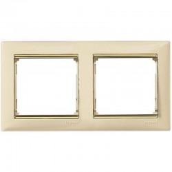 Legrand Valena - Dvojnásobný rámik, béžová/zlatý prúžok - 774152