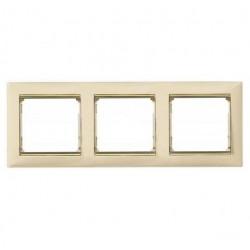 Legrand Valena - Trojnásobný rámik, béžová/zlatý prúžok - 774153