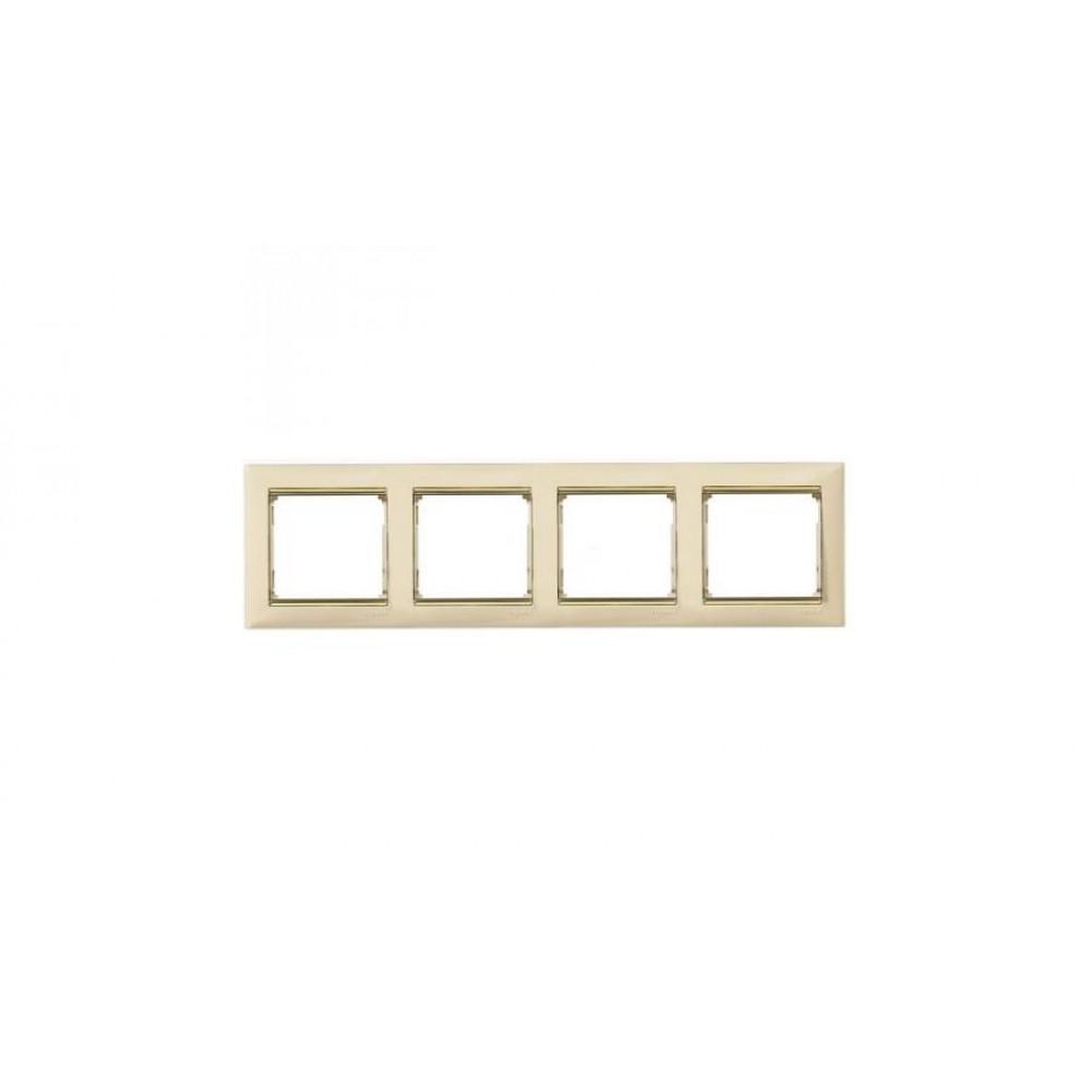 Legrand Valena - Štvornásobný rámik, béžová/zlatý prúžok - 774154