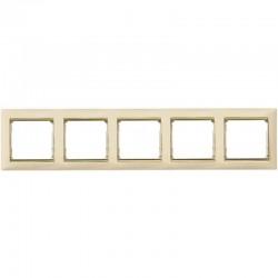 Legrand Valena - Päťnásobný rámik, béžová/zlatý prúžok - 774155