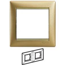 Legrand Valena - Dvojnásobný rámik, zlato matné/zlatý prúžok - 770302