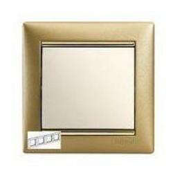 Legrand Valena - Štvornásobný rámik, zlato matné/zlatý prúžok - 770304
