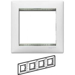 Legrand Valena - Štvornásobný rámik, biela/priehľadný prúžok - 774464