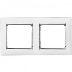 Legrand Valena - Dvojnásobný rámik, biela/strieborný prúžok - 770492