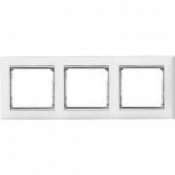 Legrand Valena - Trojnásobný rámik, biela/strieborný prúžok - 770493