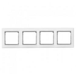 Legrand Valena - Štvornásobný rámik, biela/strieborný prúžok - 770494